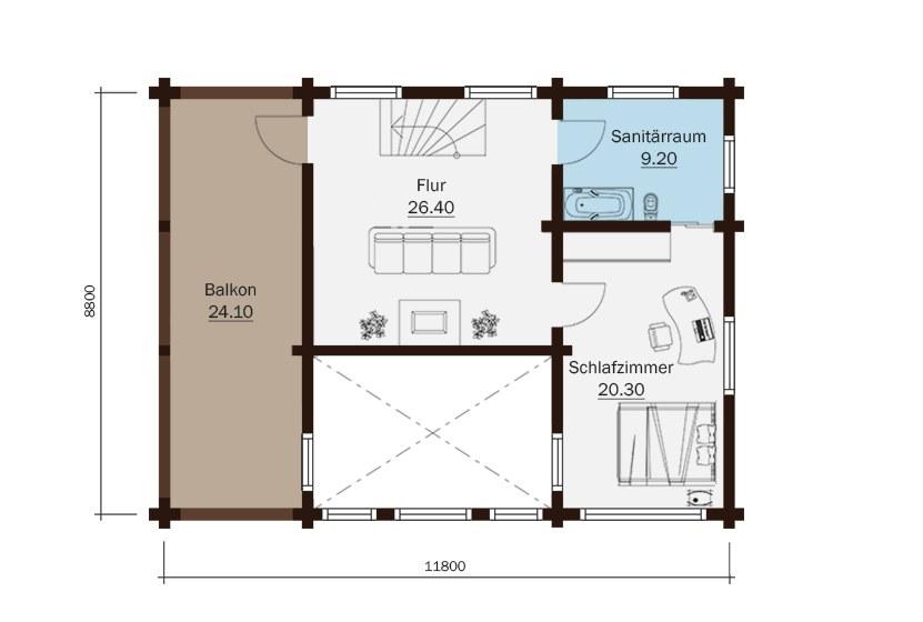 holzhaus arie 152 m2 massives kantholz mit profil. Black Bedroom Furniture Sets. Home Design Ideas